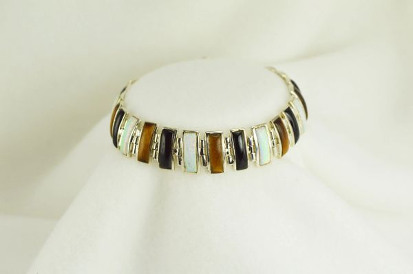 "Sterling silver multi color opal, black onyx and tiger eye 7.5"" bracelet. B031"