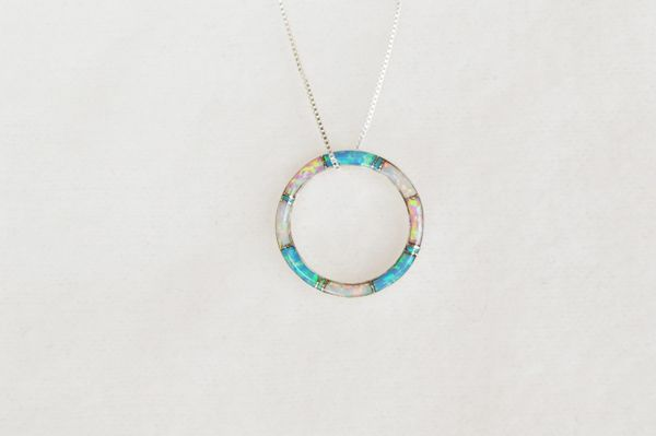 """Sterling silver white, blue and pink opal inlay hoop pendant with sterling silver 18"""" box chain. N060."""
