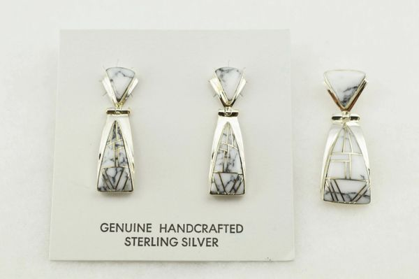 Sterling silver howlite inlay triangle shaped earrings and pendant set. S267