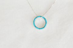 "Sterling silver turquoise inlay hoop pendant with sterling silver 18"" box chain. N089."