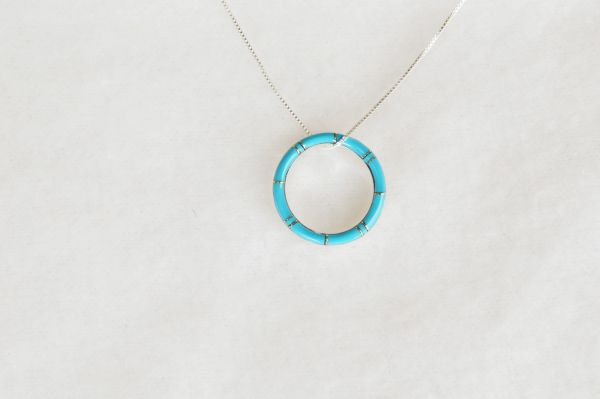 """Sterling silver turquoise inlay hoop pendant with sterling silver 18"""" box chain. N089."""