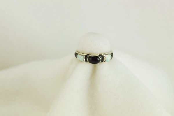 Sterling silver black onyx and white opal inlay ring. R073
