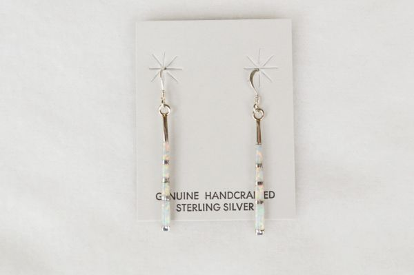 Sterling silver white opal inlay stick earrings. E123