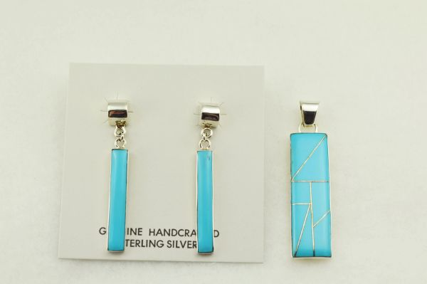 Sterling silver turquoise inlay rectangle earrings and pendant set. S249