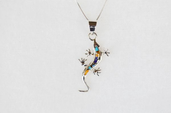 "Sterling silver multi color inlay lizard pendant with sterling silver 18"" box chain. N023"