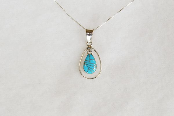 "Sterling silver turquoise inlay teardrop in hoop pendant with sterling silver 18"" box chain. N088."
