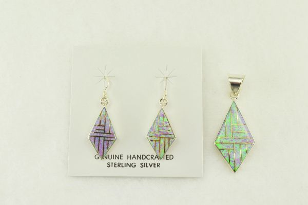 Sterling silver pink opal inlay diamond earrings and pendant set. S183