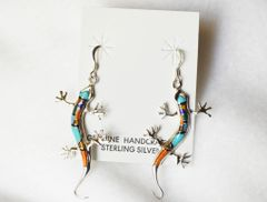 Sterling silver multi color inlay large lizard dangle earrings. E202