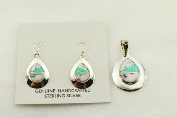 Sterling silver blue opal and howlite inlay teardrop shaped earrings and pendant set. S308