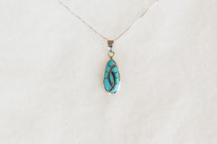 "Sterling silver turquoise inlay eye pendant with sterling silver 18"" box chain. N091."