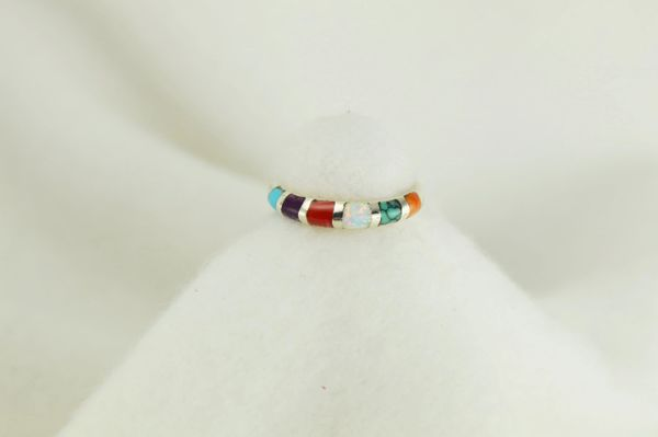 Sterling silver multi color inlay ring. R029