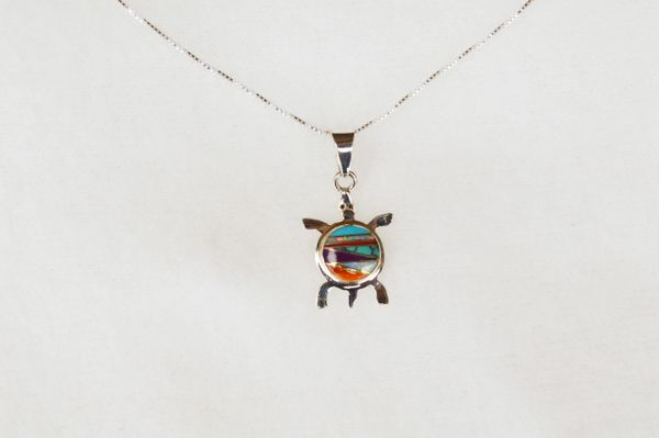 """Sterling silver multi color inlay turtle pendant with sterling silver 18"""" box chain. N016"""