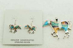 Sterling silver multi color inlay horse earrings and pendant set. S149