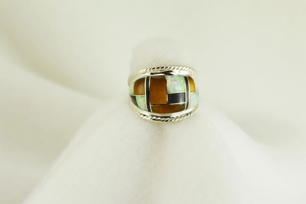 Sterling silver tiger eye, black onyx and white opal inlay ring. R033