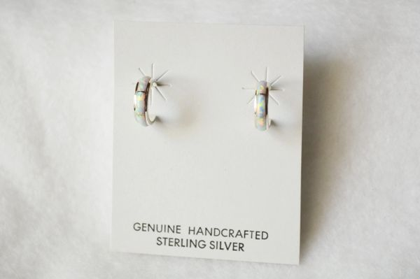 Sterling silver white opal inlay small hoop post earrings. E263