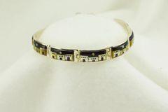 "Sterling silver adobe link 8"" bracelet. B049"