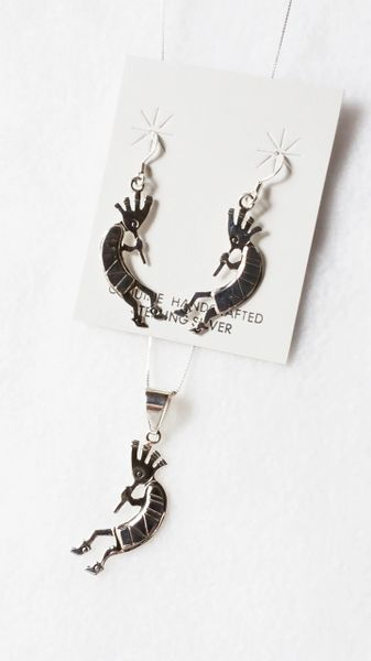 "Sterling silver kokopelli dangle earrings and 18"" sterling silver box chain necklace set. S055"
