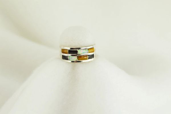 Sterling silver tiger eye, black onyx and white opal inlay ring. R036