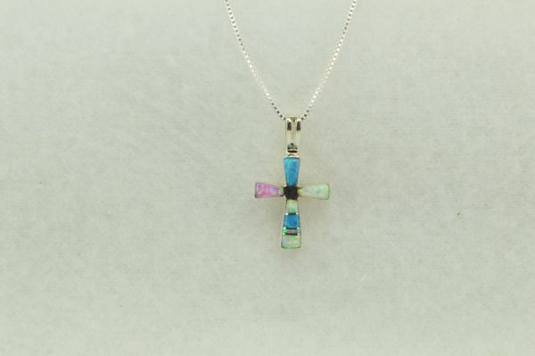 """Sterling silver white, pink and blue opal inlay cross pendant with sterling silver 18"""" box chain. N218"""