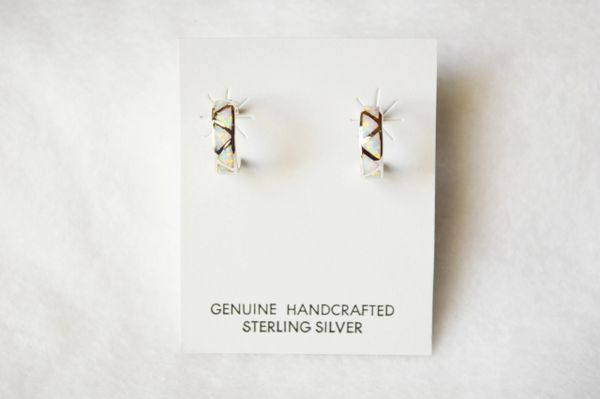 Sterling silver white opal inlay small hoop post earrings. E261