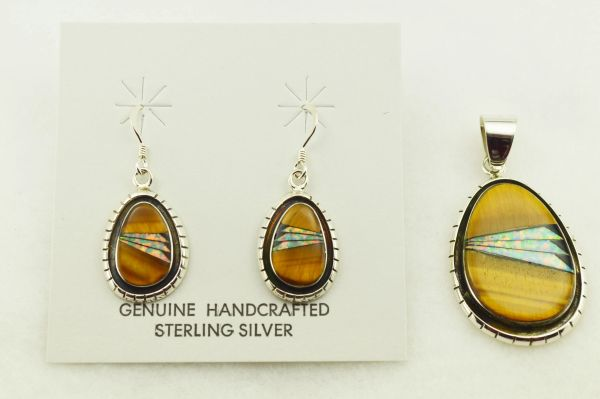 Sterling silver white opal, black onyx and tiger eye inlay oval earrings and pendant set. S326
