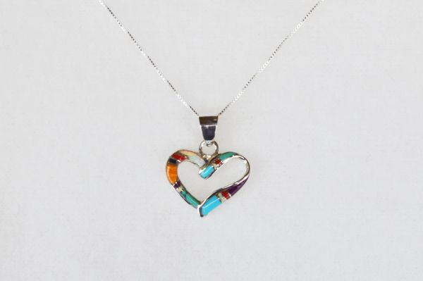 """Sterling silver multi color inlay heart pendant with sterling silver 18"""" box chain. N043"""
