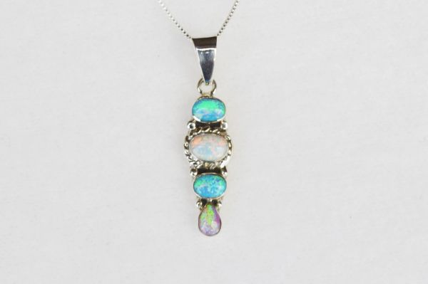 "Sterling silver white pink and blue opal 4 oval pendant with sterling silver 18"" box chain. N123."