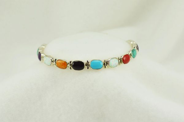 "Sterling silver multi color oval link 7.25"" bracelet. B099"