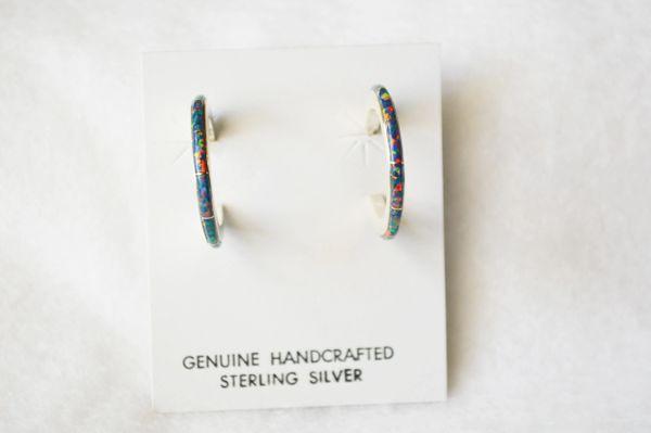 Sterling silver black opal inlay medium/thin hoop post earrings. E243