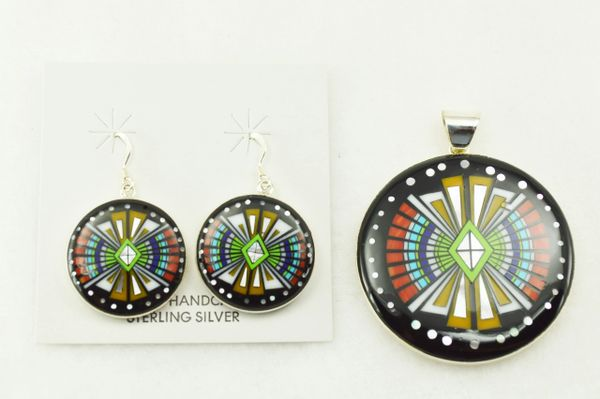 Sterling silver multi color inlay southwest design oval earrings and pendant set. S224