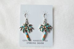 Sterling silver multi color palm tree dangle earrings. E078