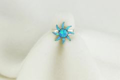 Sterling silver blue opal inlay ring. R085