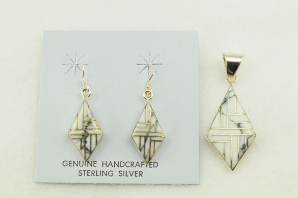 Sterling silver howlite inlay diamond shaped earrings and pendant set. S266