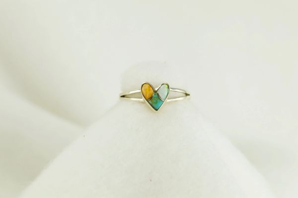 Sterling silver multi color inlay ring. R030