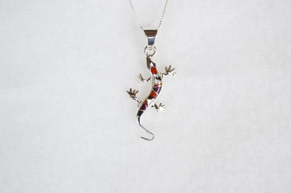 """Sterling silver multi color inlay lizard pendant with sterling silver 18"""" box chain. N110."""