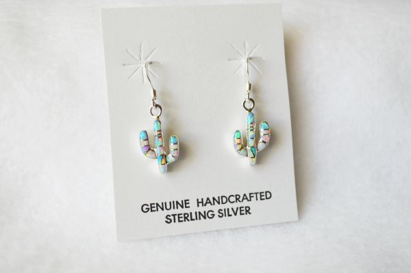 Sterling silver white, pink and blue opal inlay cactus dangle earrings. E184