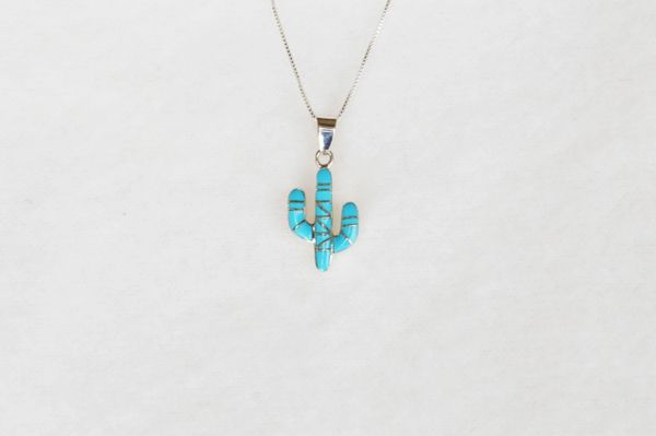 """Sterling silver turquoise inlay cactus pendant with sterling silver 18"""" box chain. N077."""