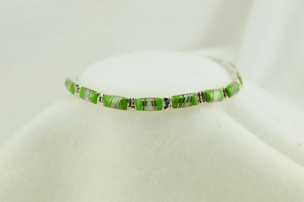 """Sterling silver gaspeite and white opal inlay link 7.5"""" bracelet. B055"""