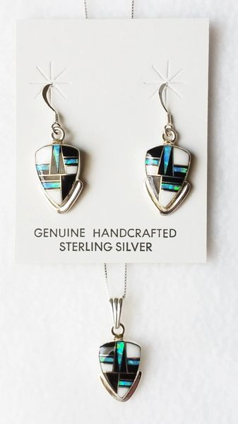 "Sterling silver blue opal, black onyx and howlite inlay arrowhead dangle earrings and 18"" sterling silver box chain necklace set. S026"