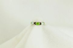 Sterling silver gaspeite and white opal inlay ring. R147