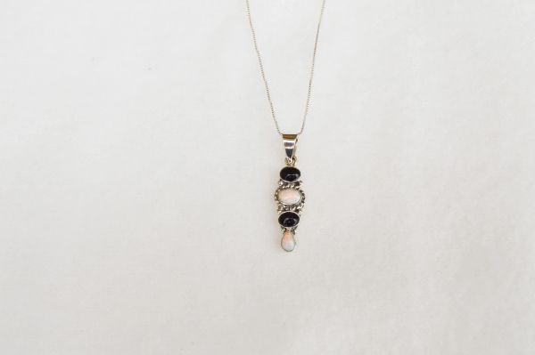 """Sterling silver black onyx and opal 4 tier oval pendant with 18"""" sterling silver box chain. N050."""
