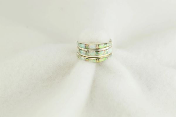 Sterling silver white opal inlay ring. R013