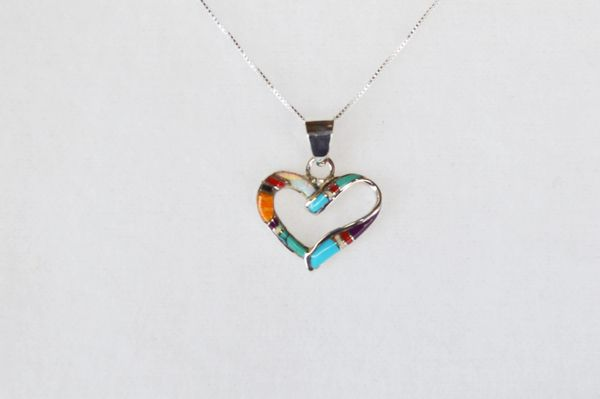 "Sterling silver multi color inlay heart pendant with sterling silver 18"" box chain. N026"
