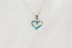 "Sterling silver turquoise inlay heart pendant with sterling silver 18"" box chain. N083."