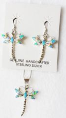 "Sterling silver blue, white and pink opal inlay dragonfly dangle earrings and 18"" sterling silver box chain necklace set. S028"