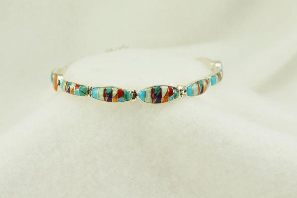"Sterling silver multi color inlay link 7.5"" bracelet. B102"