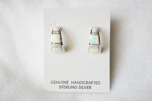 Sterling silver white opal inlay medium/wide 1/2 hoop post earrings. E254