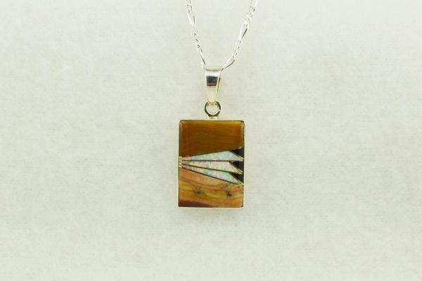 "Sterling silver tiger eye, white opal and black onyx inlay rectangle pendant with sterling silver 18"" figaro chain. N171"