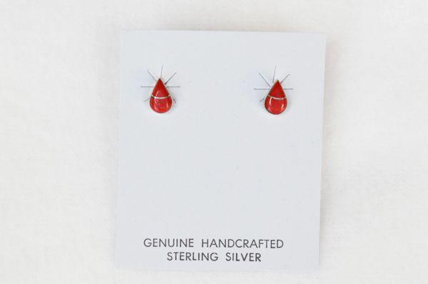 Sterling silver coral teardrop post earrings (E007)