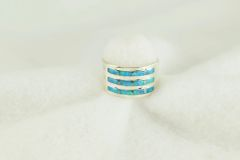 Sterling silver blue opal inlay ring. R224